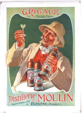 Rigaux - Distillerie du Moulin à Biévène - circa 1910 vintage poster