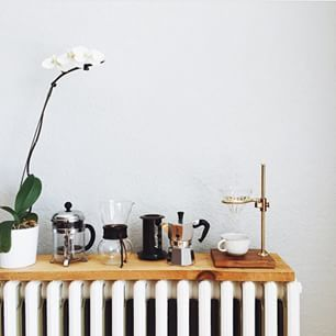 Note our brass pour over and Chemex. #coffeebrew #pourover #chemex