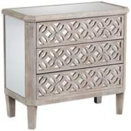 Charly Natural Whitewash 3-Drawer Lattice Accent Chest - #16E65 | Lamps Plus