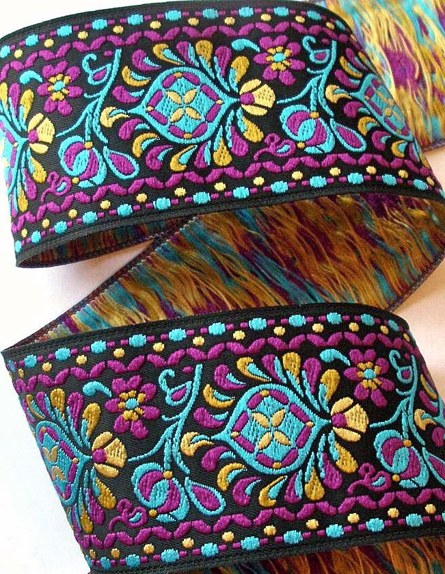 """Shell Collection 1 7/8"""" x 1 yard in Turquoise, Gold, Magenta and Black Woven Jacquard Ribbon - SH7aa. $5.50, via Etsy."""