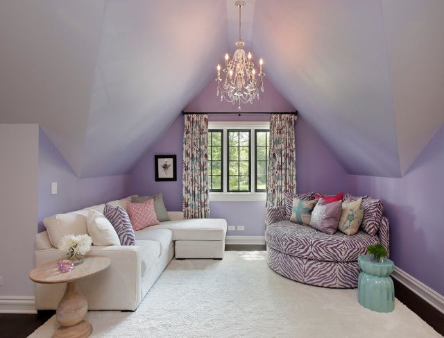 purple attic room inspo--I bet she would love for me to hang a chandy in there, but we will probably stick with a ceiling fan for circulation. Love the soft color of the purple though. And the seating! (inspo)