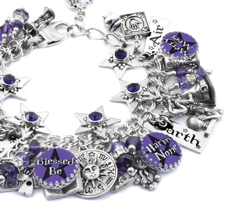Wiccan Jewelry - Wicca Bracelet - Witch Charm Bracelet - Pentagram Jewelry by BlackberryDesigns on Etsy https://www.etsy.com/listing/101243817/wiccan-jewelry-wicca-bracelet-witch
