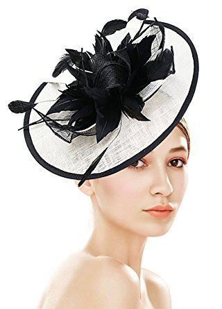 696a90c0195 Z X Fascinator With Headband Clip Cocktail Tea Party Feather Floral Pillbox  Hat Black Review