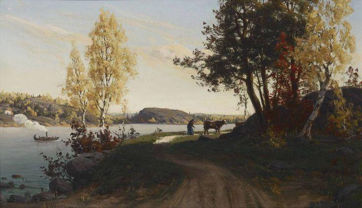 Autumn Landscape, 1878 – öljy kankaalle – Fanny Maria Churberg (1845-1892) Ateneum - Churbergin tuotannon taiteell.arvoa alettiin ymmärtää laajemmin vasta v.1919 H:gissä Stenmanin taidegalleriassa pidetyn retrospektiiv.muistonäyttelyn yhteydessä.Teokset nähtiin ekspressiivisinä ja moderneina,neroutta ilmentävinä.Vars. Chubergin arvonnousu alkoi kuit. Signe Tandefeltin artikkelista Arena-lehdessä 1920, jossa hän nosti Churbergin esiin.Maamme naistaiteilijoille Churbergista muodostui esikuva.