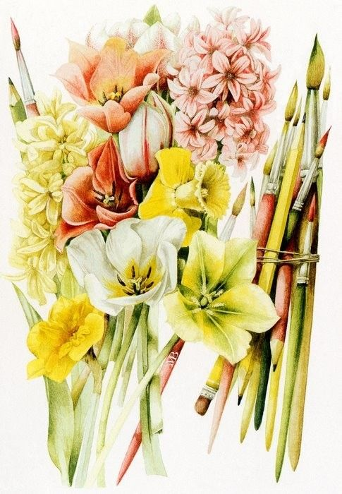 Tulips and Paint Brushes