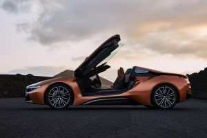 The New 2018 BMW i8 Roadster with gullwing doors open