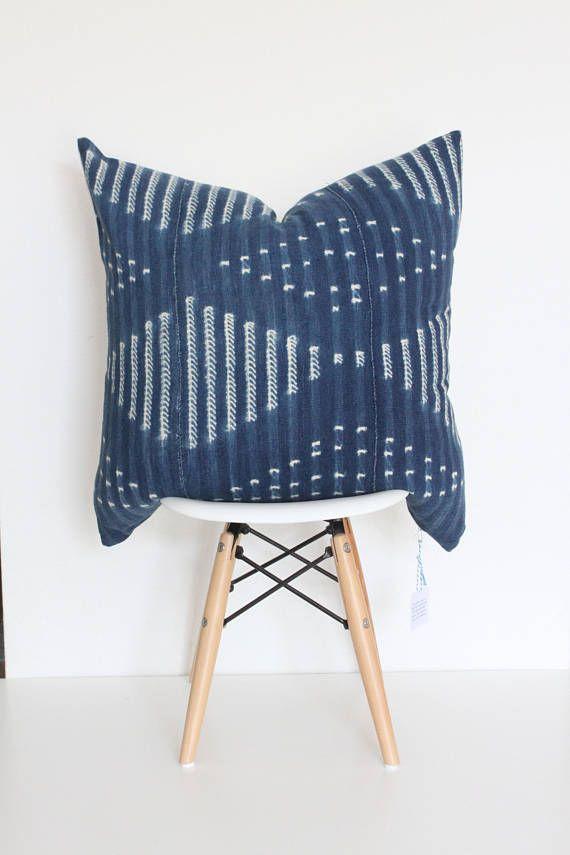 22 x 22 Indigo African Pillow Cover