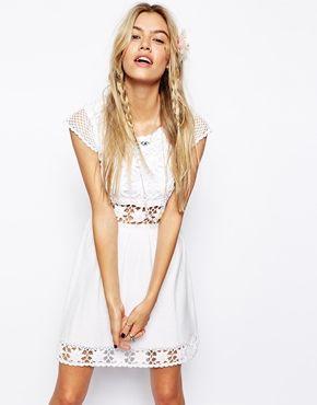 Image 1 ofASOS Crochet Skater Dress