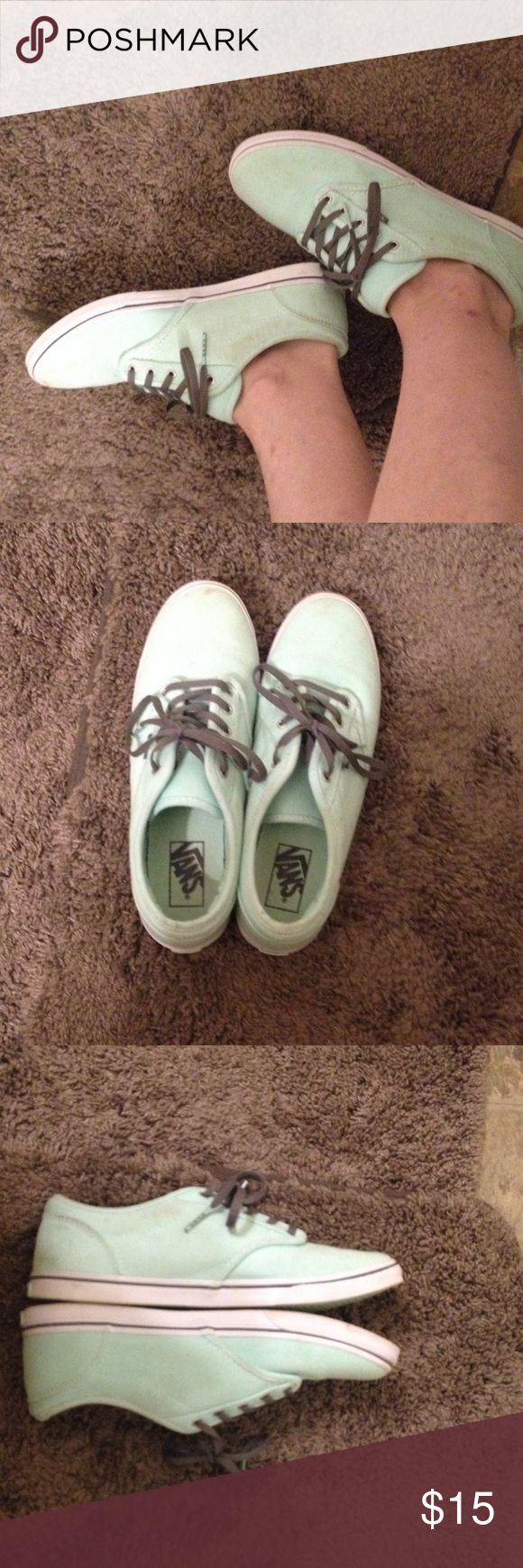 Teal vans Lightly worn teal vans with grey shoes strings. A couple stains on top but hardly noticeable. Vans Shoes Sneakers
