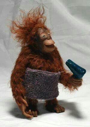 Enjoying the hair dryer