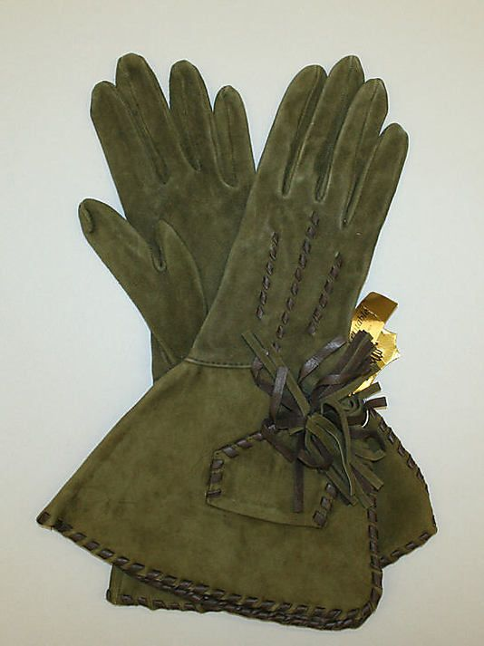 Green suede gloves by Philippe Model, French, late 1980's.