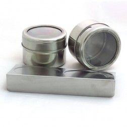 Porta Temperos Magnético Inox com Base e 2 Porta Condimentos