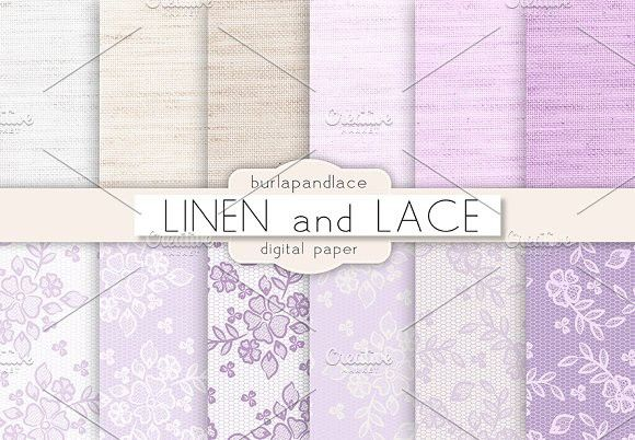 Linen and Lace digital paper. Patterns. $6.00
