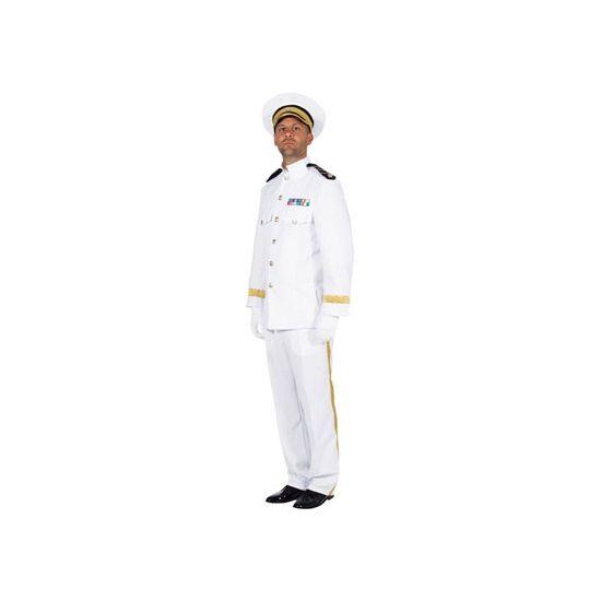 Mariniers pak mannen  Luxe officiers kostuum voor heren bestaande uit colbert en broek. Het witte marine officiers kostuum is gemaakt van brandvertragend materiaal en heeft een ruime pasvorm. Materiaal: 100% polyester. Exclusief pet.  EUR 79.95  Meer informatie