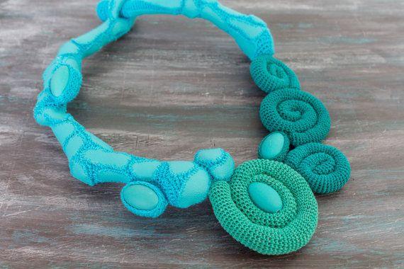 SALE/ 30%/ Blue Crochet Necklace Ocean Waves