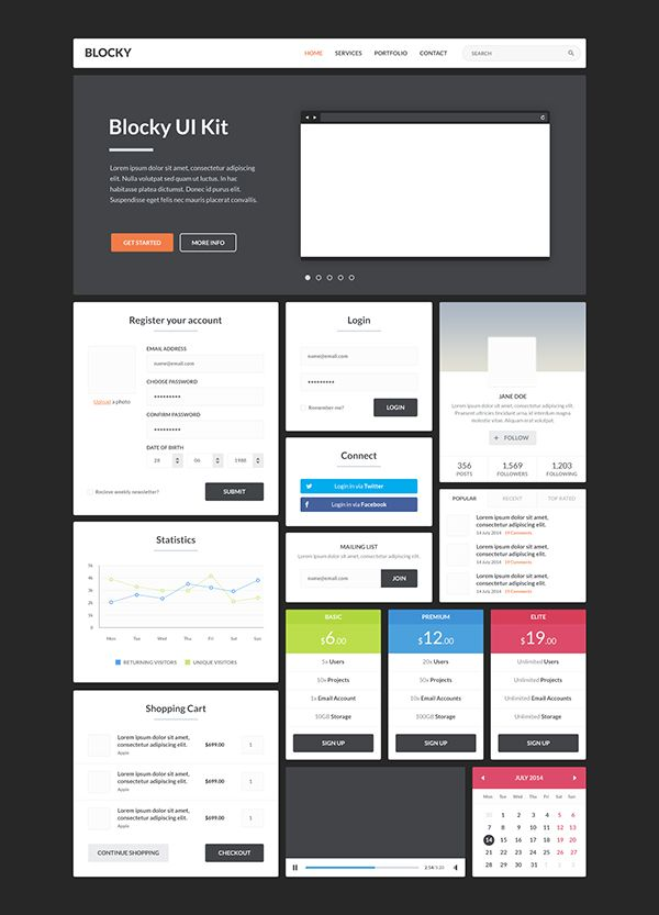 Blocky UI Kit on Behance