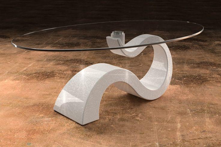 Articolo 491-6     Tavolino da salotto Apopi - Finitura: bianco con brillantini argento.Misure: cm 110 x 65  - Altezza: cm 41 - Peso: Kg. 29 - Vetro: ovale -  temperato - extrawhite - filo lucido - spessore 1 cm