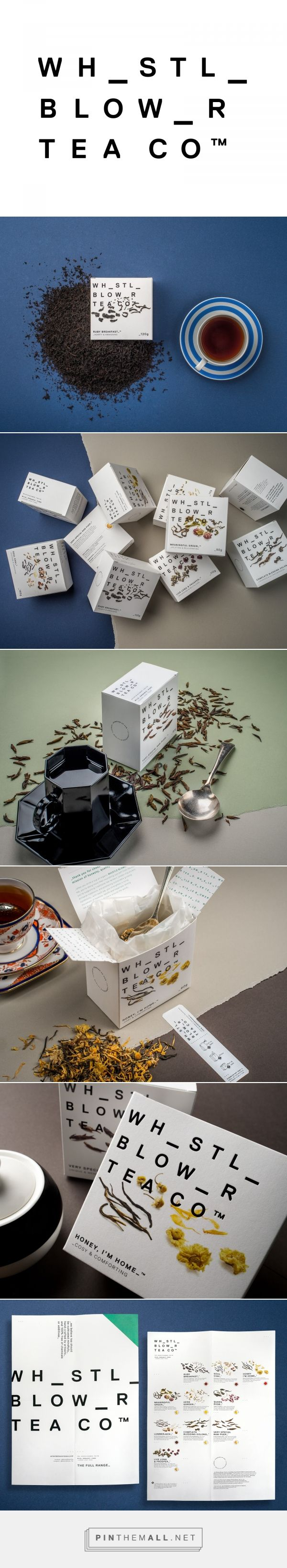 Whistle Blower Tea Co. packaging design by Black Squid Design - http://www.packagingoftheworld.com/2017/10/whistle-blower-tea-co.html