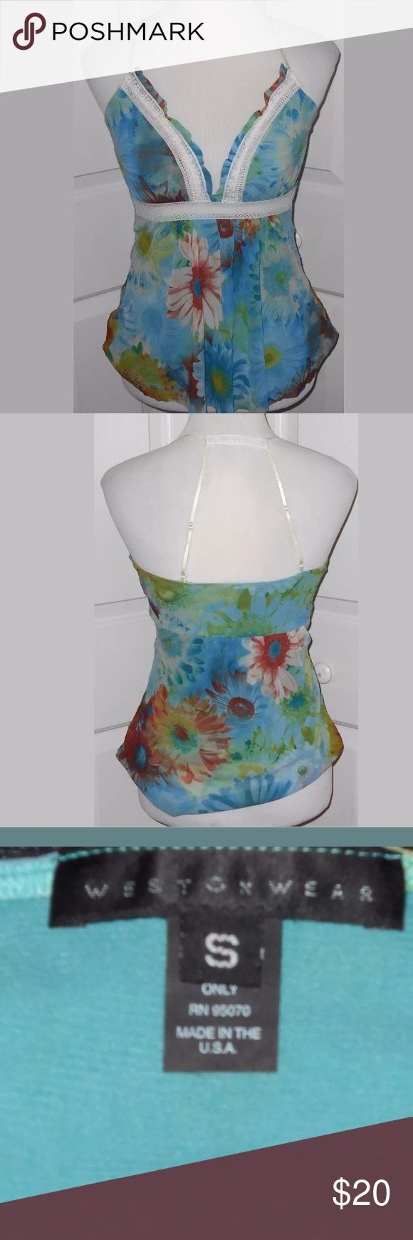 "Weston Wear Blue Floral Cami / Tank Top size S Weston Wear Blue Floral Cami / Tank Top with lace and mesh trim. The straps are adjustable. Size Small. 100% Nylon. Measures: 14"" pit to pit. Weston Wear Tops Camisoles"