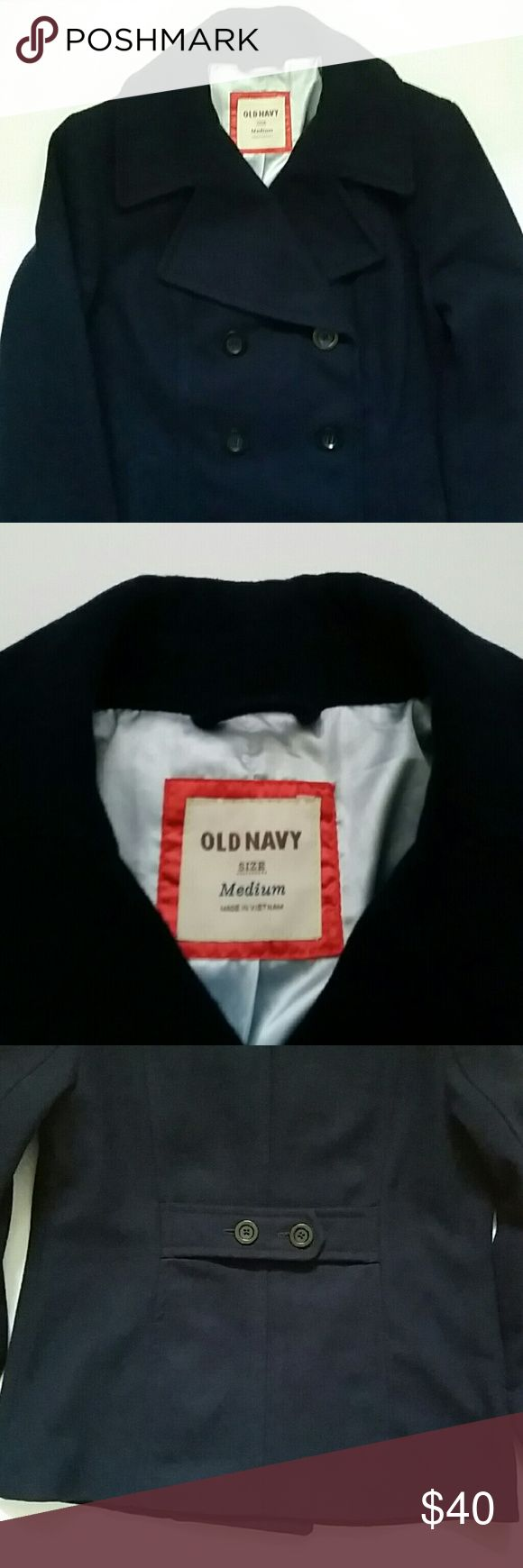 Old Navy Pea Coat color navy SZ Medium Stylishly chase away the chill this winter in this great Old Navy double breasted, navy Pea Coat.  It has front pockets, and is self belted in back.  Beautiful light blue satin look lining.  Gently loved. 6 button front..buttons dark navy all in great shape. Shoulder width 15 in, chest 20 in , arm 25 in. Old Navy Jackets & Coats Pea Coats