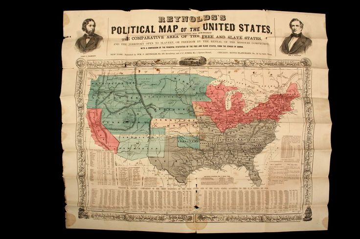 """Sale 318 Lot 1191 - RARE ANTI-SLAVERY MAP - From the 1856 Presidential Campaign: """"Reynolds's Political Map of the United States Designed to Exhibit the Comparative Area of the Free and Slave States and the Territory Open to Slavery or Freedom by the Repeal of the Missouri Compromise"""", New York, Published by W.C. Reynolds and J.C. Jones; Chicago, Rufus Blanchard. 1856. With 1850 census at bottom, portraits of John C. Fremont & Wm. L. Dayton at top. 28"""" x 33 3/4"""". SOLD$ 3,250 #raremap"""
