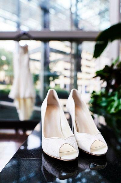 White wedding shoes for bride - white, peep-toe heels {Captive Art Photography}