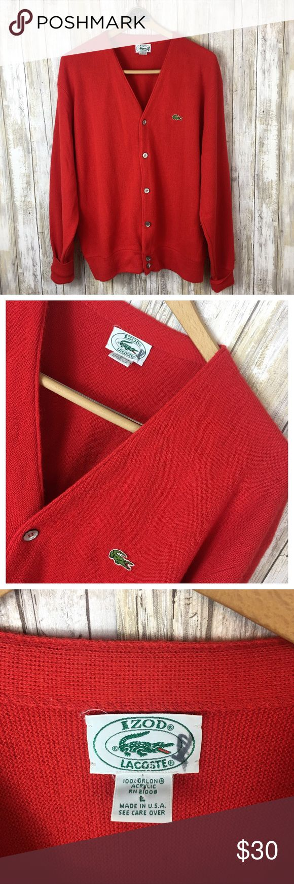 """Vintage Lacost Cardigan Vintage Lacoste Cardigan. Styled for a man but could be unisex. Size Large Men's. 100% acrylic. No flaws. Preowned #010909 Measurements flat Chest 24"""" Length from shoulder 28"""" Sleeves 24.5"""" Lacoste Sweaters Cardigan"""