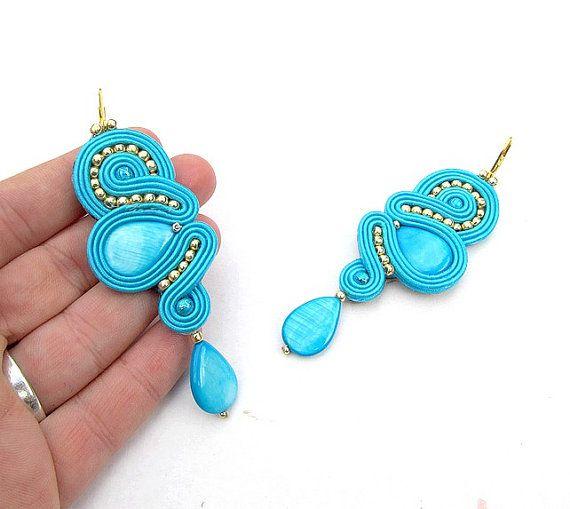 Orientale Turquoise or oreille Soutache bleue Drop par StudioGianna