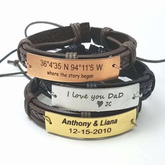 Custom Leather Bracelet with a Metal Bar for engraving your personal message. These are truly personal gifts for your friends, boyfriend, father, brothers and buddies. The metal bar is cut from an 18 gauge metal sheets of raw brass, raw copper or raw stainless steel. Then they are
