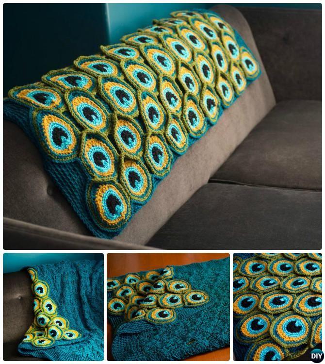 #Crochet Peacock #Blanket Free Pattern-10 Crochet Peacock Projects Free Patterns #DIY