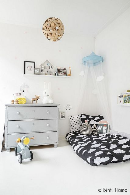kid's room with clouds...