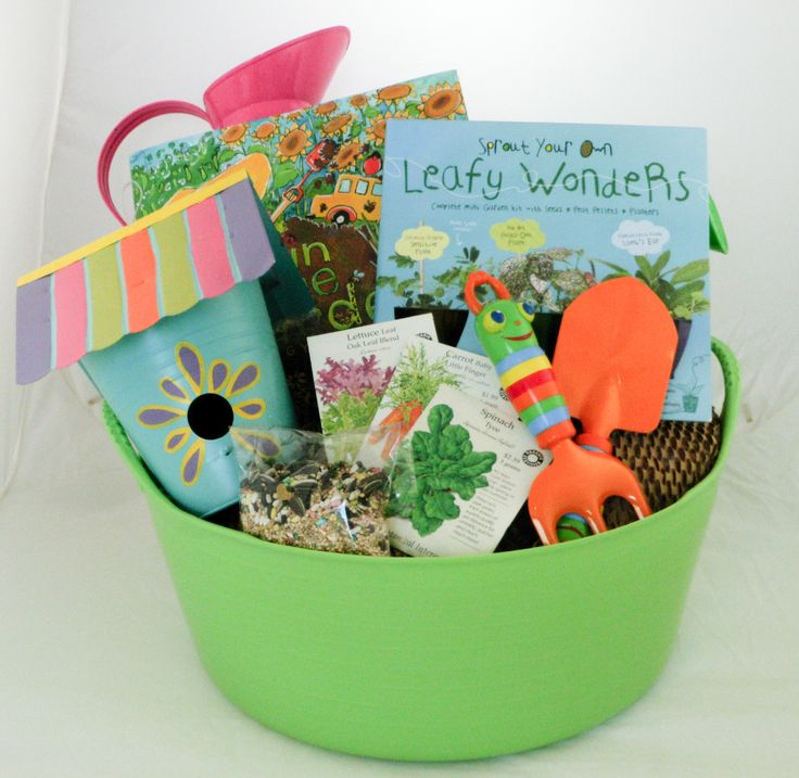 dollar store green gardner gift basket gardening tools seeds books