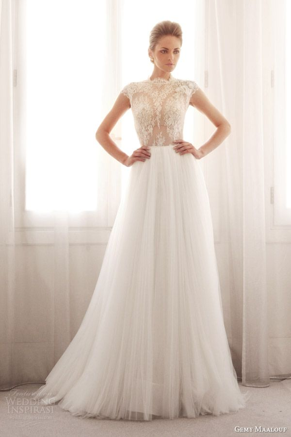 gemy maalouf wedding dresses 2014 bridal lace cap sleeve top 3239B 3759S skirt