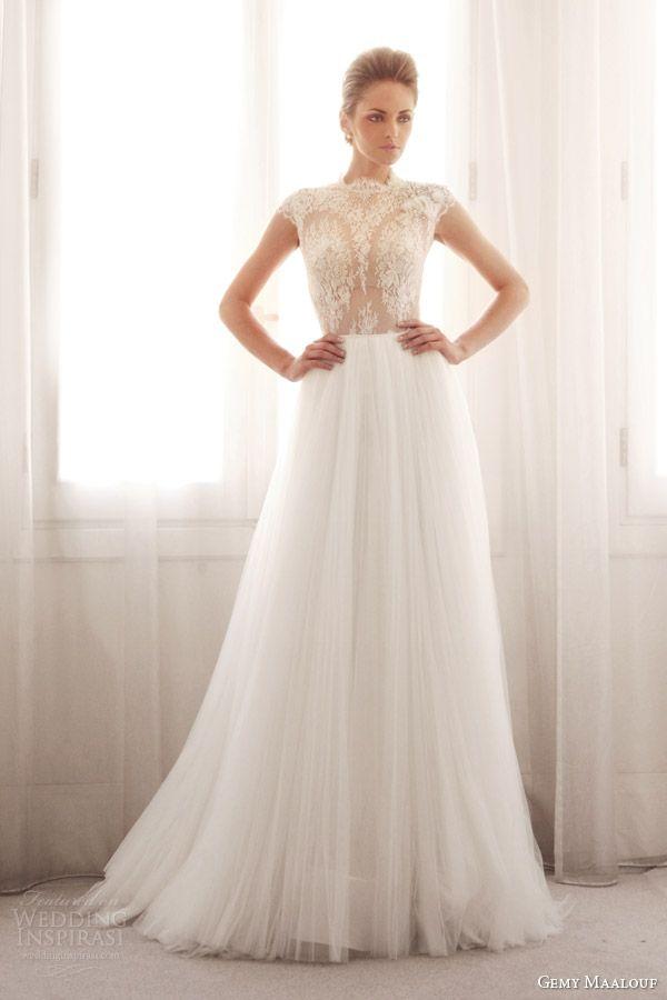 gemy maalouf wedding dresses 2014 bridal lace cap sleeve top 3239B 3759S skirt
