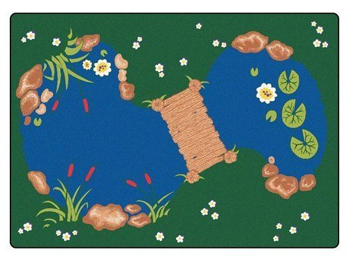 "Printed The Pond Kids Rug Size: 4'5"" x 5'10"" by Carpets for Kids. $141.06. Treated with ""Carpet Guard"" which provides soil and stain protection in the classroom.. Made in the USA. Meets NFPA 253, Class I fire code requirements. Colors and patterns are designed to be fun for children. The Anti-Microbial treatment minimizes product deterioration and odors. 3001 Size: 4'5"" x 5'10"" Features: -Technique: Cut Pile.-Material: 100pct 6.6 nylon.-Origin: United States.-Dur..."