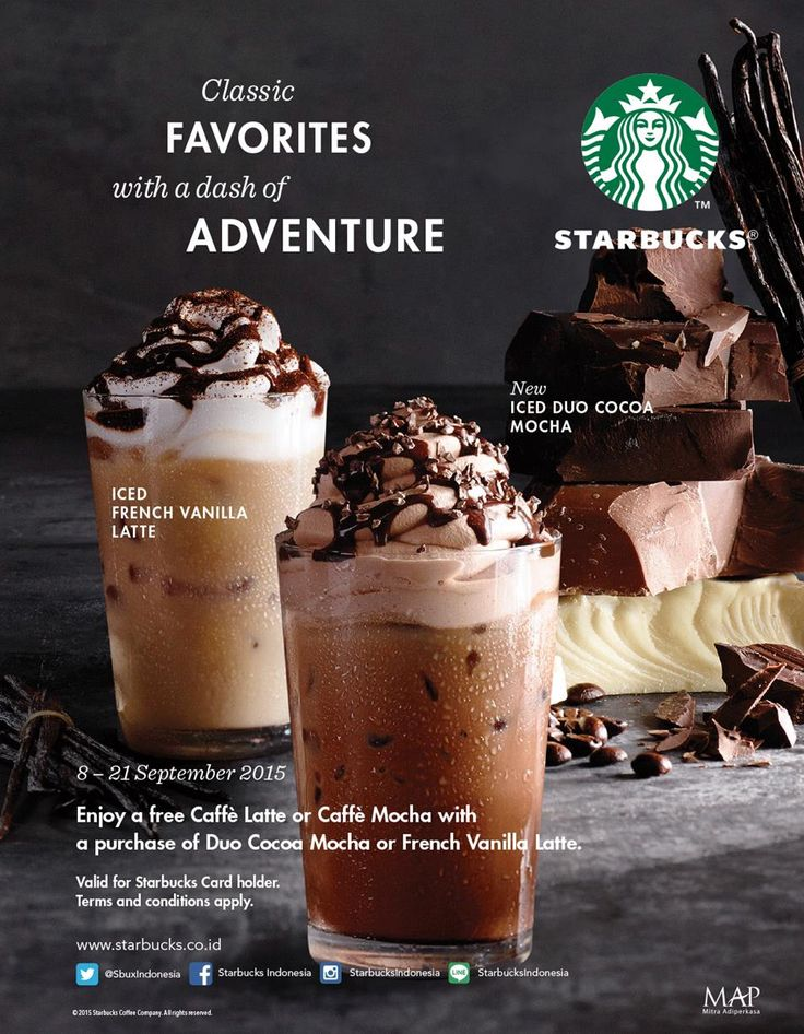 "Enjoy a free caffe latte or caffe mocha with a purchase of duo cocoa mocha or french vanilla latte,8-21 September 2015. "" Bali World Premier Beach Mall "" Discovery Shopping Mall, Jl. Kartika Plaza, Kuta 80361 Phone : 0361 755522 Website : www.discoveryshoppingmall.com https://twitter.com/DISCOVERY_Bali http://pinterest.com/dsmbali http://instagram.com/dsmbali http://www.facebook.com/pages/discovery-shopping-mall/ http://www.tripadvisor.co.id/Attraction_Review-g297697-d160……"