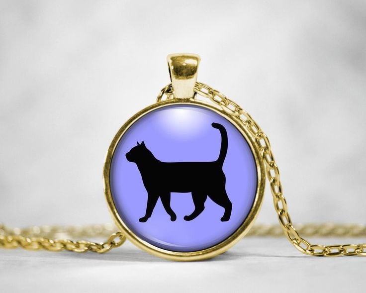 Cat Silhouette Glass Pendant Necklace