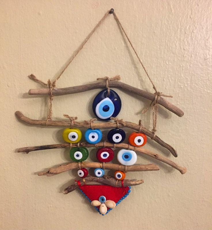 driftwood nazarlık, deiftwood, nazarlık, amulet, yalos, turkish eye, design, hand made