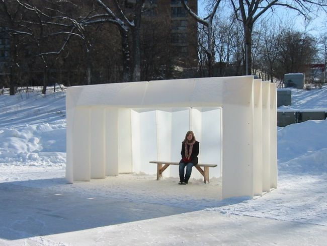 corogami- folding structure is constructed with laminated twinwall polypropylene and brass paper fasteners  -  This could make simple shelter for a homeless person.  Looks light weight.