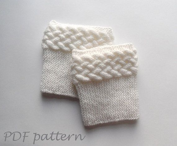 Double Knit Sock Pattern : KNITTING PATTERN - Double Cable Boot Cuffs Boot Toppers Pattern Knit Boot Soc...
