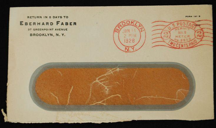 Vintage Eberhard Faber Company Window Envelope - Postmarked January 14, 1928 #EberhardFaber