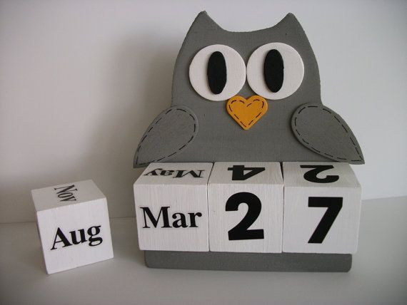 Need this!! Owl Perpetual Calendar Wood Block Grey This calendar can be used year after year and makes a perfect gift. This 5 piece calendar set comes with a