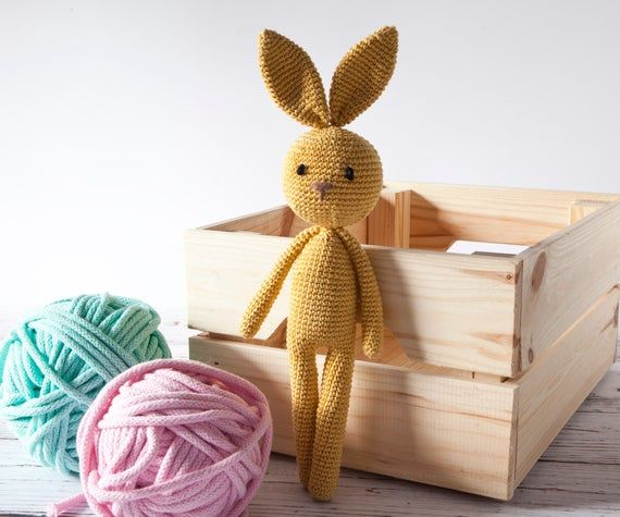 Classic crochet bunny, the best cuddly toy for a nursery, hypoallergenic 100% cotton, a best friend amigurumi for toddler