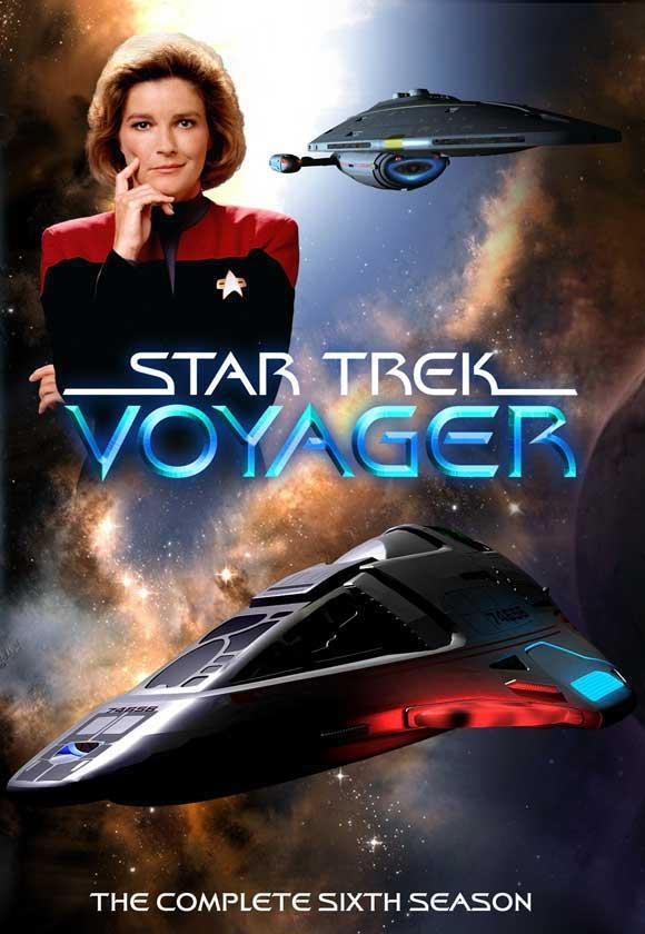Star Trek Voyager - Captain Kathryn Janeway (Kate Mulgrew), USS Voyager, and the Delta Flyer.