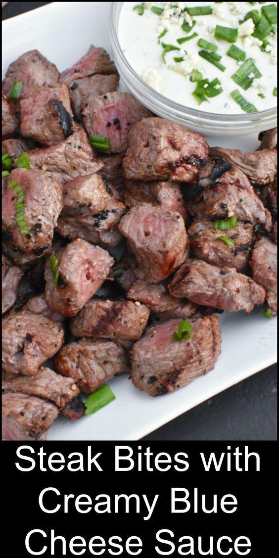 Super impressive. Super easy. Grilled Steak Bites with Creamy Blue Cheese Sauce. Yum!