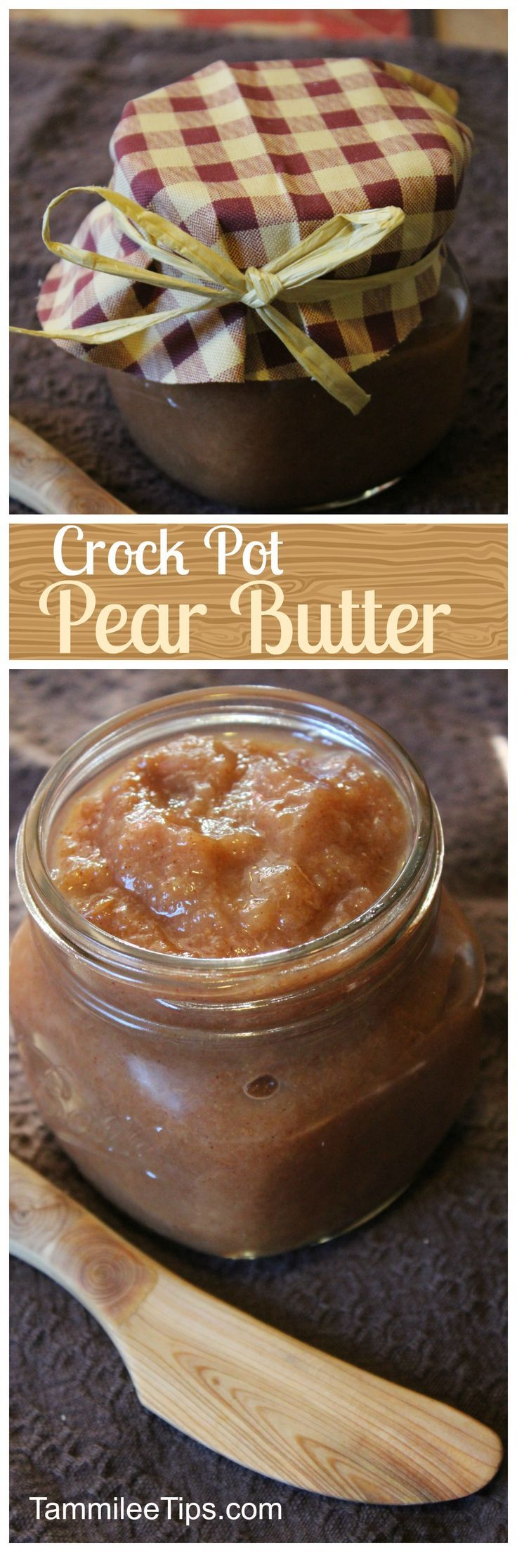 Super easy Crockpot Pear Butter recipe that is great for canning. This slow cooker recipe can easily be made into spiced pear butter. This is a crock pot recipe the entire family will love!