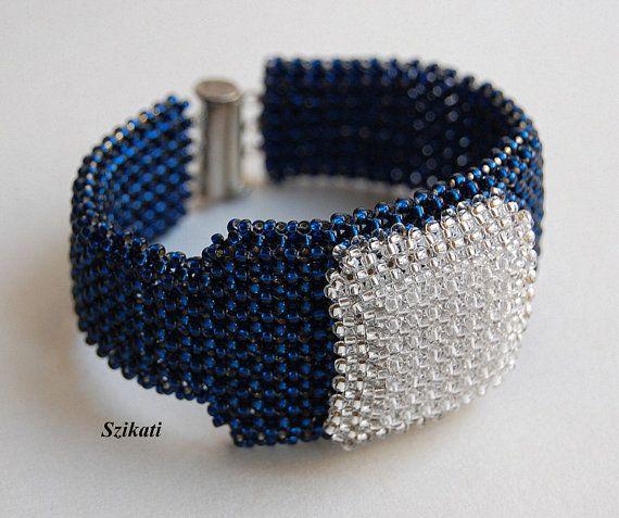 Elegante+scuro+blu/Crystal+Seed+Bead+Bracciale+perline+di+Szikati