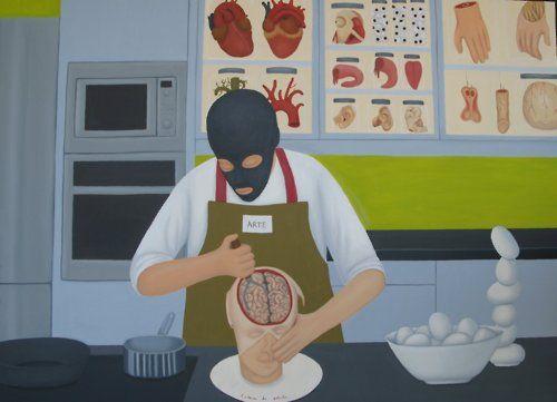 Rosalía Banet - Cocina para amantes del artebodegón, 2007 Óleo sobre lienzo, 130x180cm.