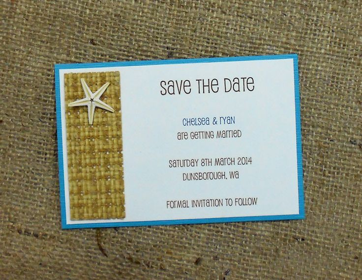 Save the Date card for a beach wedding