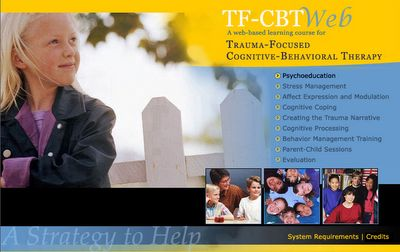 Free Trauma Focused Cognitive Behavioral Therapy(TF-CBT)online training.  Clicking on the photo will take you to the webinar and the source link goes to a google books chapter on the use of play in TF-CBT. Click here for a TF-CBT workbook.